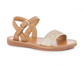Sandale Pom d'Api camel/paillettes