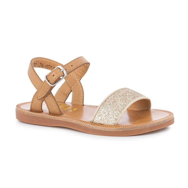 Sandale Pom d'Api pour enfants camel glitter