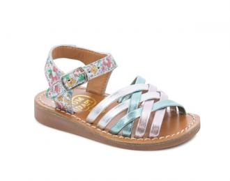 Sandale Pom d'Api aqua/fleurs