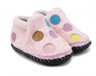 Chaussons polaire pour bébé/ rose à pois