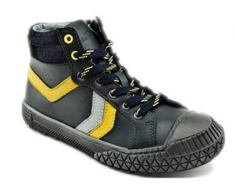 Bottillon en cuir noir/jaune Bellamy