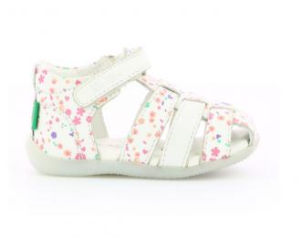 Sandale Kickers blanc avec fleurs