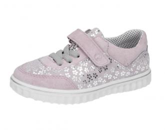 Chaussure Ricosta rose avec fleurs argent