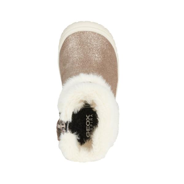 Bottine pour bébé et enfants de Geox, dorée et blanche, chaude, imperméable et flexible.
