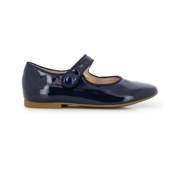 Chaussure pour enfant de type Mary Jane, cuir vernis marine