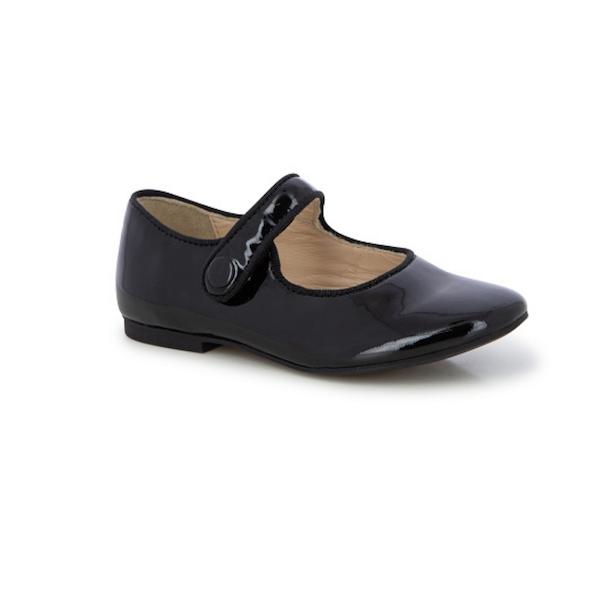 Chaussure pour enfant de type Mary Jane, noire vernis.